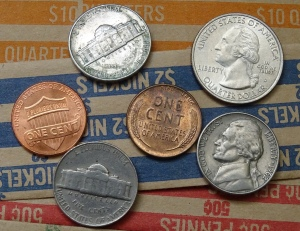 Collection of Assorted US Cents Colorful Background