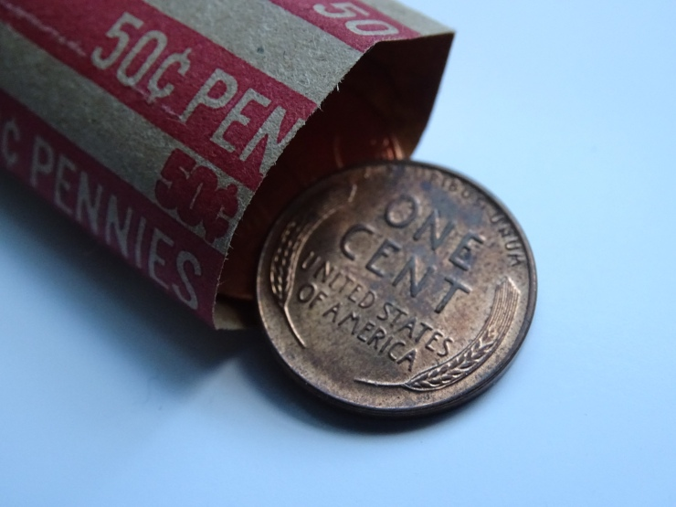 A Wheat Penny from a Roll of Pennies