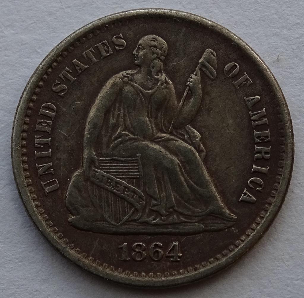 1864S Half Dime Obverse Front Legend