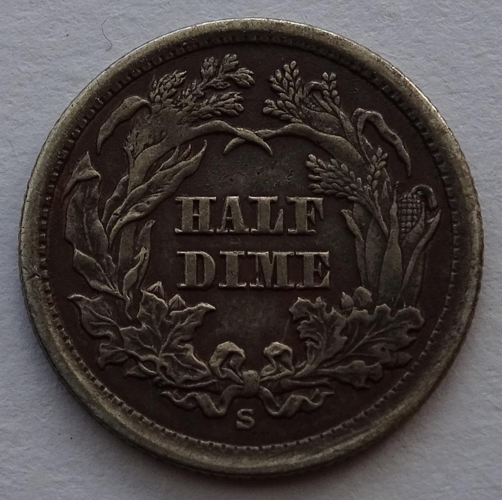 1846S Half Dime Reverse Back Legend Cereal