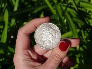 Peace Dollar in Woman's Hand Nail Polish