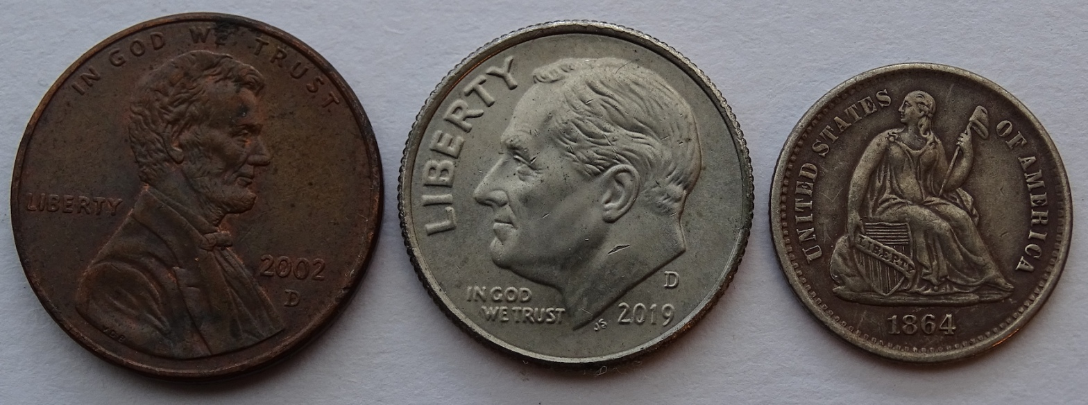 Penny, Dime, Half Dime Sizes Small Coins