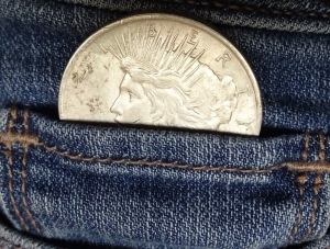 Peace Dollar in a Pocket Carrying Piece