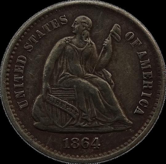 1864 S Half Dime Transparent Background Copper