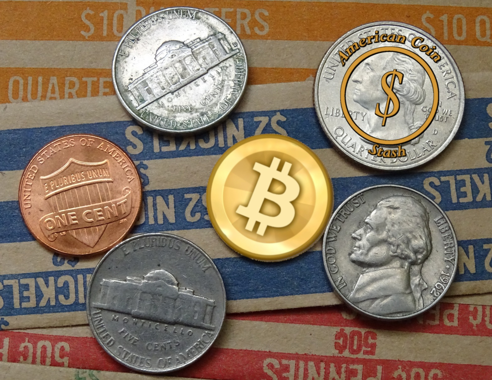 Bitcoin BTC with Real US coins on coin wrappers