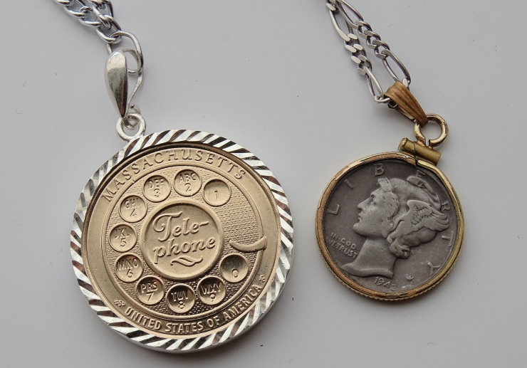 Coin Necklaces Bezel Dollar Innovation and Mercury Dime