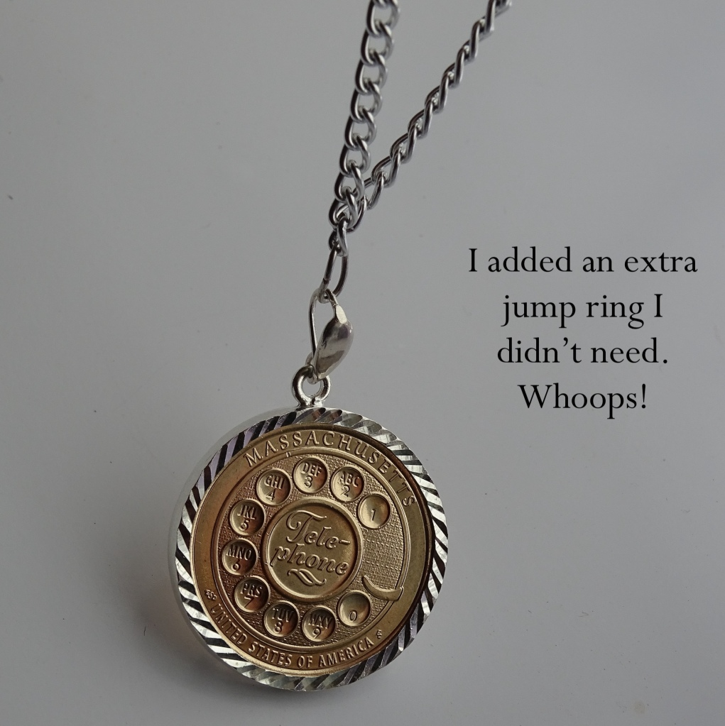 Finished coin on necklace Bezel Telephone Coin