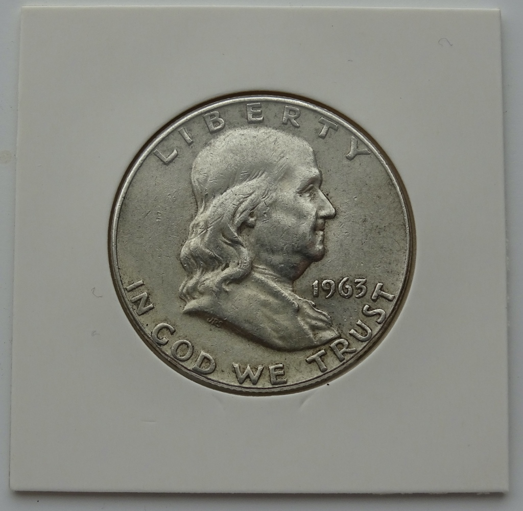 1963 Franklin Half Dollar in cardboard flip