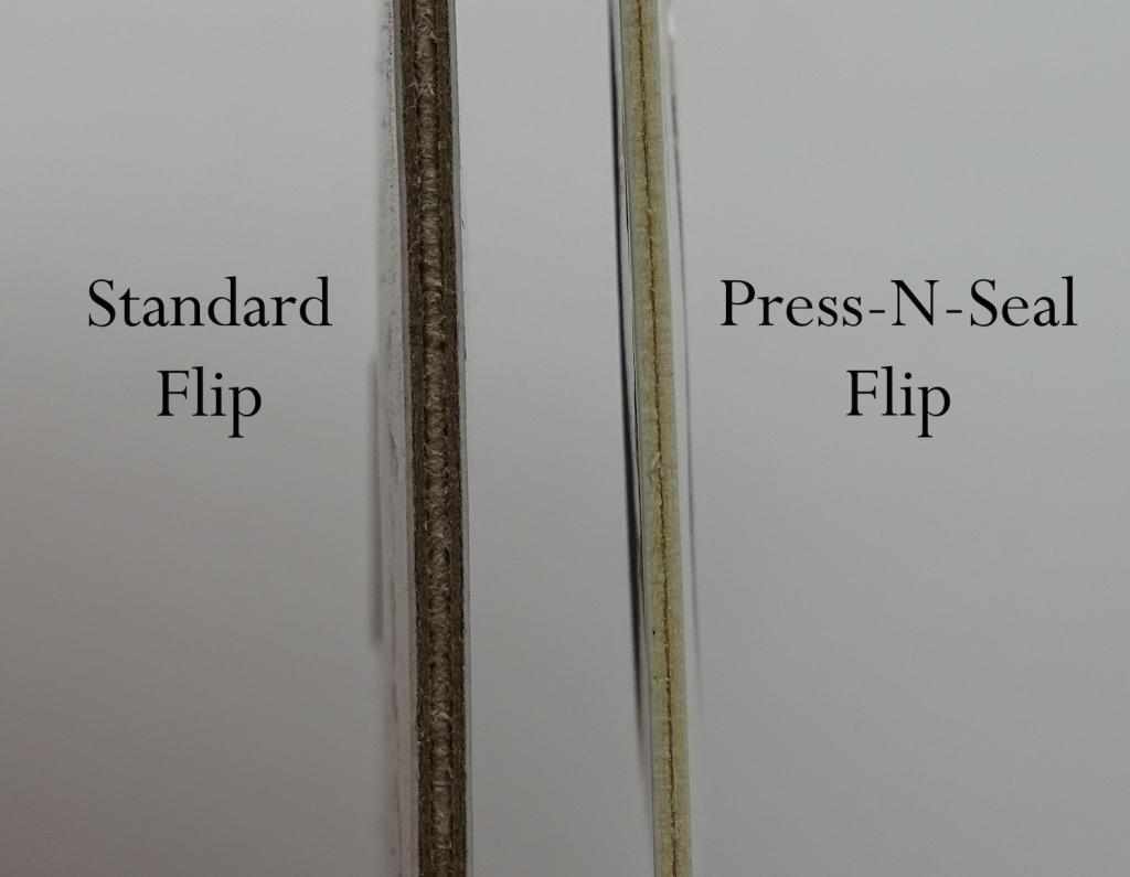 Comparison Thickness Standard Flip vs BCW Adhesive Flip