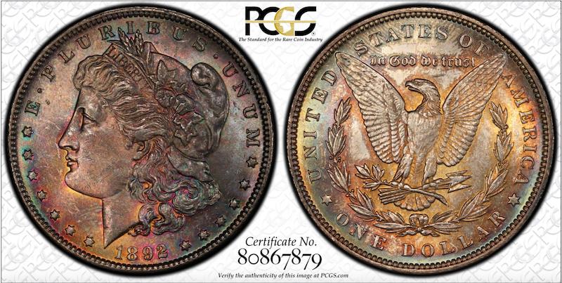 Toned Morgan Silver Dollar PCGS toning
