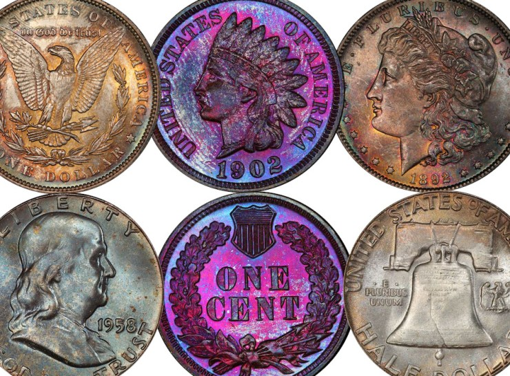 Toned Coins together Head toning vs tarnish