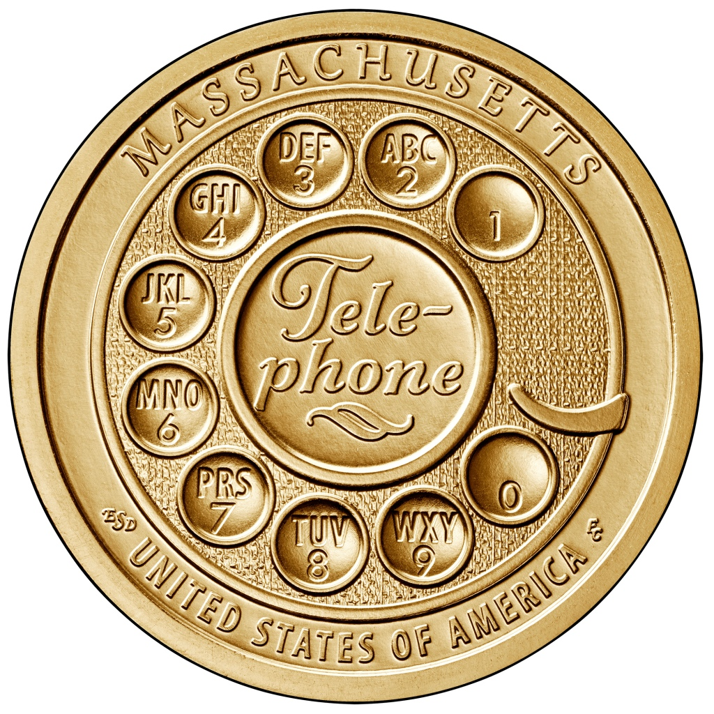 Telephone Massachusettes Alexander GRaham Bell Coin Dollar